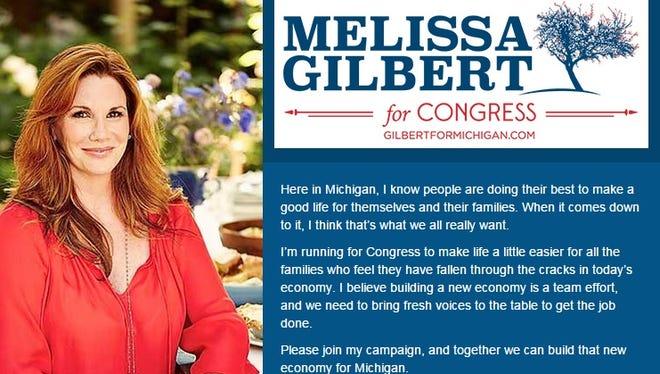 Melissa Gilbert is running for Congress in Michigan.
