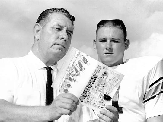 "All-SEC linebacker Bill Cody, right, and Auburn coach Ralph ""Shug"" Jordan in promotional shot before the start of Cody's senior season in 1965 with the Tigers."