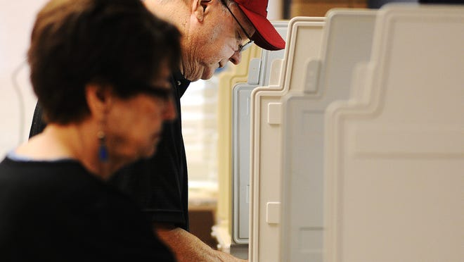 Bill Estlund and his wife Rose Estlund vote during the primary election on June 3.