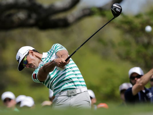 Rafa Cabrera Bello of Spain hits his drive on the eighth hole during a quarterfinal round match against Ryan Moore at the Dell Match Play Championship golf tournament at Austin County Club, Saturday, March 26, 2016, in Austin, Texas. (AP Photo/Eric Gay)