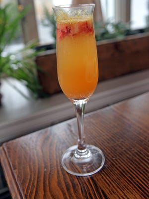 Strawberry rhubarb mimosa is a drink served during at L'Inizio restaurant in Ardsley.