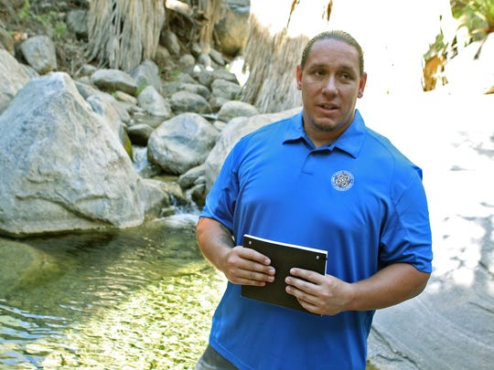 Agua Caliente tribal chairman Jeff Grubbe talks about the Coachella Valley's aquifer and the tribe's related lawsuit in the Indian Canyons, Thursday, June 27th, 2013. The United States Justice Department on Tuesday voiced support for the Agua Caliente Band of Cahuilla Indians' lawsuit against two local water authorities that claims mismanagement of the Coachella Valley's underground water supply.