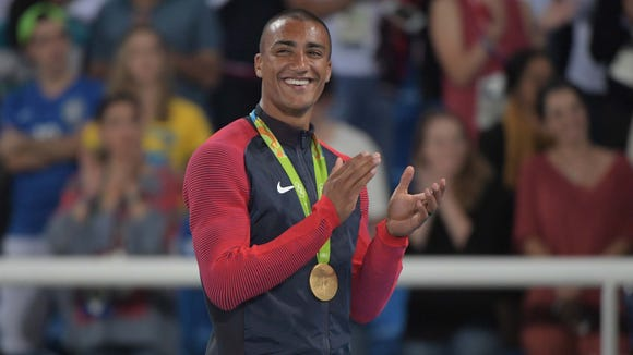 Aug 19, 2016; Rio de Janeiro, Brazil;  Ashton Eaton (USA) wins gold for decathlon during track and field competition in the Rio 2016 Summer Olympic Games at Estadio Olimpico Joao Havelange. Mandatory Credit: Kirby Lee-USA TODAY Sports
