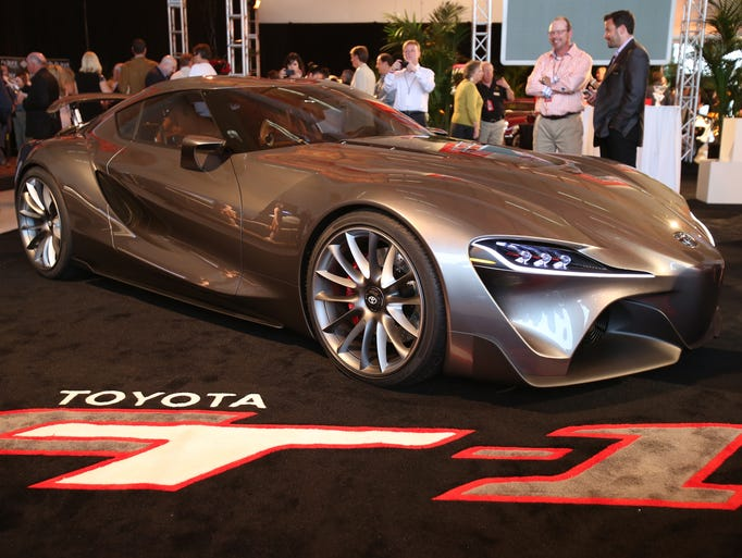 The Toyota FT1 concept car displayed at the McCall Motorworks Revival held at the Monterey (Calif.) Jet Center. The  new version of the FT-1 concept was done for showing to the well-heeled crowds gathered for Monterey car week and the famed Pebble Beach classic car show.