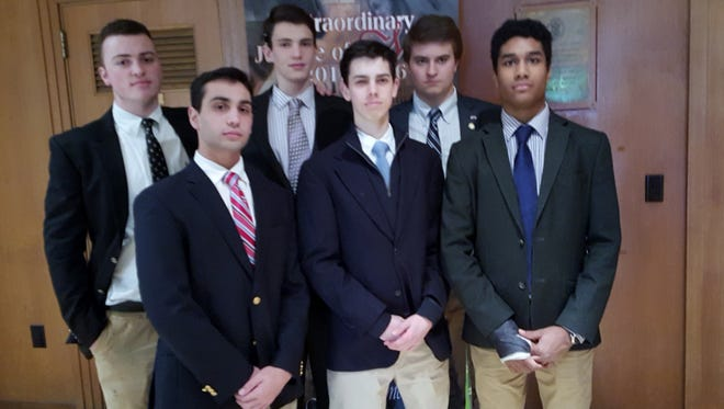 McQuaid students who attended Big Shawn's funeral. Back row left to right, Seamus Darby, Forrest Gertin and Finlay McCarrick. Front row left to right, Andrew Vaccaro, Riley Benner and Markus Sherman.