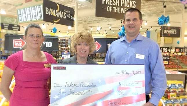 The Falcon Foundation recently received a check in the amount of $5,000 through the EITC program from Giant Food Stores. Presenting the check to Lenann Engler, Falcon Foundation president, is Gina Bordner, left, customer operations manager, and Chris Beitler, manager of the Lebanon store on Bowman Street. Established by Pennsylvania in 2001, the EITC program awards tax credits to businesses that make contributions to educational improvement organizations. The Falcon Foundationn provides funding or partial funding of educational and enrichment opportunities in the Cornwall-Lebanon School District. For more information about making an EITC gift to the foundation, contact Tony Allwein via email at tony_allwein@comcast.net.