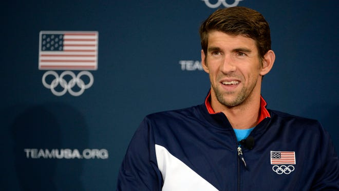 Michael Phelps speaks to the media at a press conference during the 2016 Team USA Media Summit on March 8.