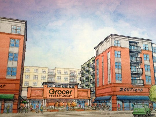 North American Properties unveiled this rendering showing the architectural concept for a proposed grocery store location on Gaines Street.