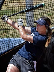 Nevada softball player Erika Hansen, an All-American candidate, gets some batting practice during a recent team practice at Hixson Field.