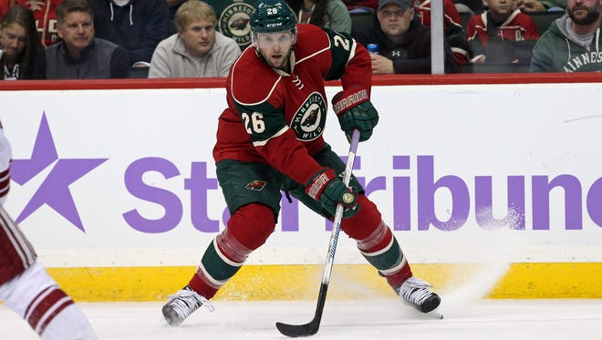 Wild forward Thomas Vanek (26) looks to pass during the second period against the Arizona Coyotes at Xcel Energy Center.