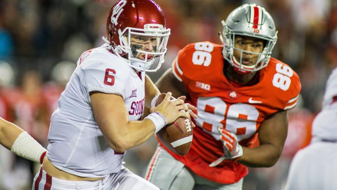 The Buckeyes spent most of the game chasing Oklahoma quarterback Baker Mayfield.