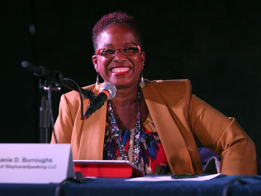 Stephanie D. Burroughs speaks at the Women Entrepreneurs Rock event at the Stone Pony in Asbury Park.