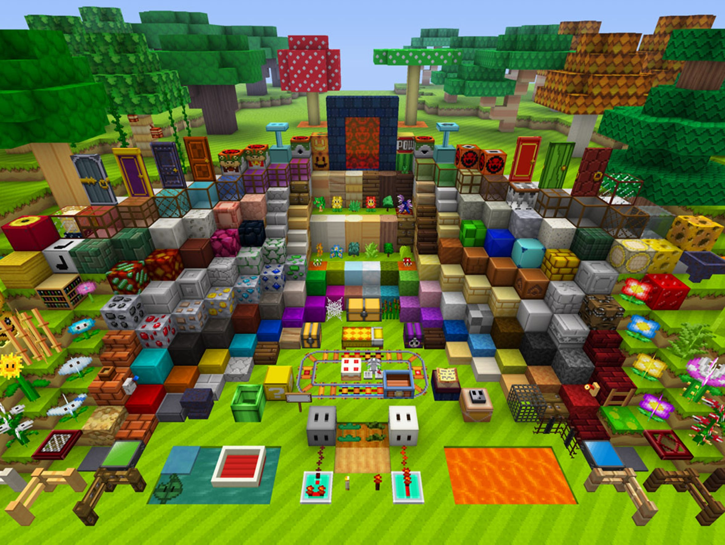 "A sampling of the various blocks available in ""Minecraft:"