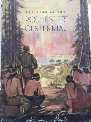 "The cover of ""The Book of the Rochester Centennial: A Century of Progress,"" published in 1934."