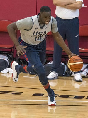Former Michigan State standout Draymond Green does a drill during a Team USA practice in Las Vegas.