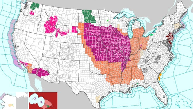 The national weather map showed heat alerts in much of the central U.S. along with portions of the East and West coasts.