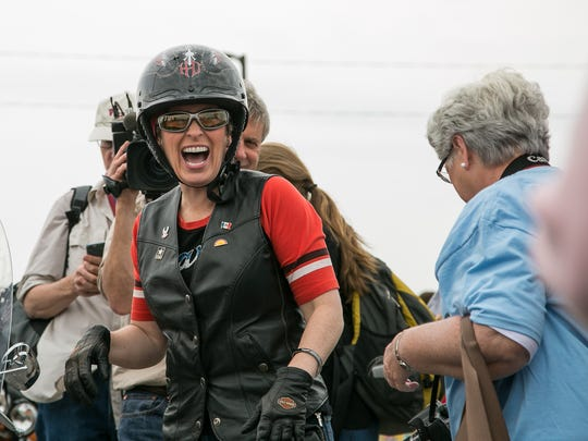 U.S. Sen. Joni Ernst of Iowa arrives at her inaugural Roast and Ride on Saturday, June 6, 2015, in Boone, Iowa.
