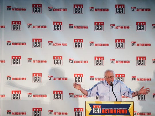 Sen. Bernie Sanders (I-Vt.) speaks during the Iowa CCI annual Convention on Saturday, July 15, 2017 in Des Moines.