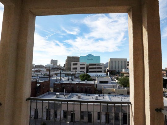 The view of Downtown El Paso from a third-floor apartment balcony at the 501 apartments.