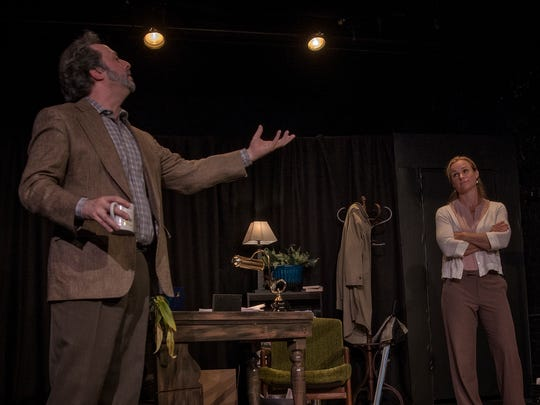 "Andrew Gall and Emily Tynan McDaniel in ""Better Strangers"" at Asheville's Magnetic Theatre."