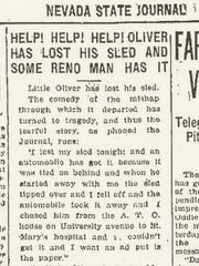 A story in the Feb. 4, 1923, edition of the Nevada State Journal that tells how 7-year-old Oliver Aymar lost his sled.