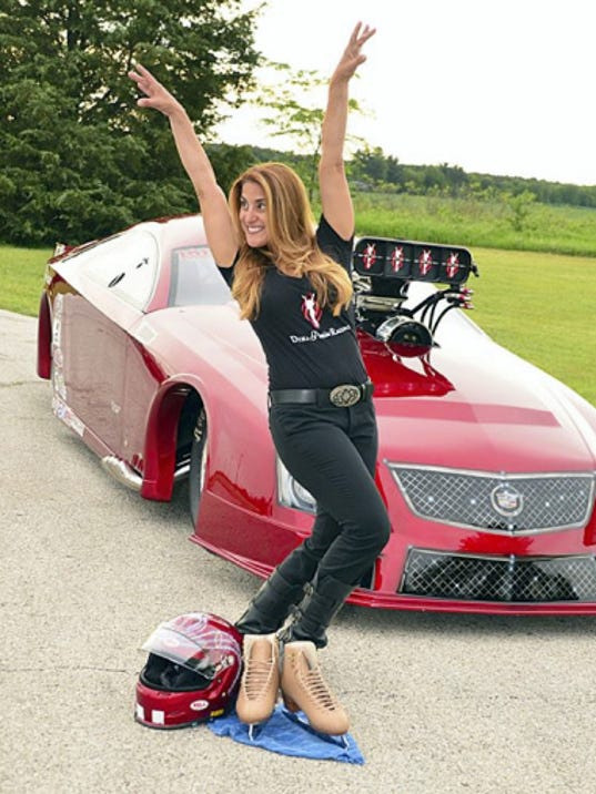 Dina Parise stands in front her red Cadillac CTS-V nicknamed 'Stella.' Parise, a former Ice Capades skater, is striking the pose that has become the logo for her race team. She recently won the International Hot Rod Association's Crower Pro Mod Series title.