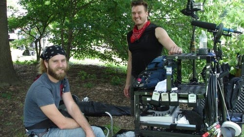 "Crew members behind ""Brave New Jersey"" on location in June at Green Frog Farm in Alamo."