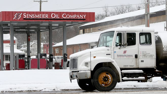A Sensmeier truck leaves the station on Main Street on Thursday. Sensmeier Oil Co. in Mansfield was acquired by RelaDyne of Cincinnati.