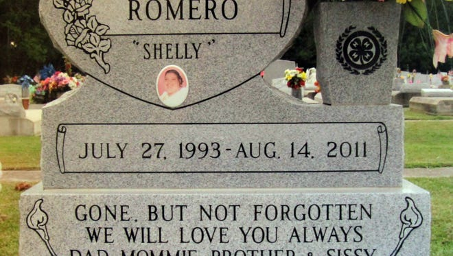 """Mitchell """"Shelly"""" Romero's gravestone. Photo Courtesy of Romero Family"""