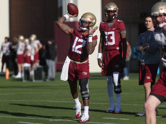 FSU's Deondre Francois throws a pass during spring practice at the Al Dunlap Training Facility on Wednesday, March 21, 2018.