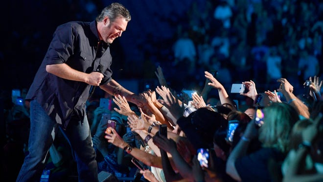 """Hey, I'm always shocked when I look out at the size of this freaking crowd,"" Blake Shelton told the audience of about 50,000."