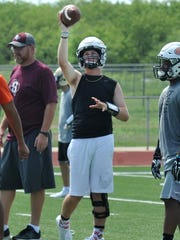 Burkburnett's Mitchell Jennings practiced Wednesday afternoon in preparation for the Oil Bowl.