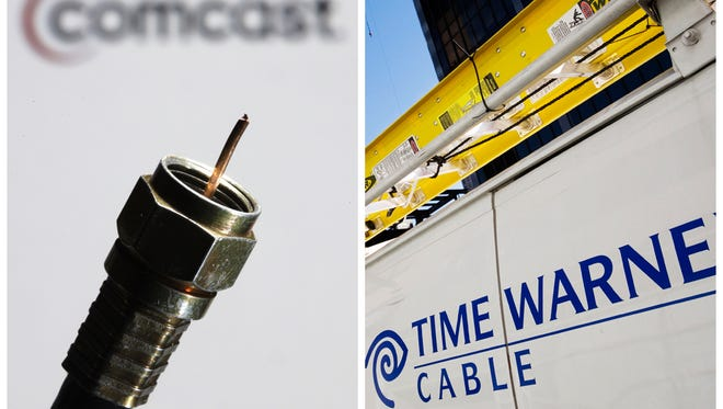 In this combination of Associated Press photos, the a coaxial cable is displayed in front of the Comcast Corp. logo in Philadelphia, on Wednesday, July 30, 2008, and a Time Warner Cable truck is parked in New York on Feb. 2, 2009.