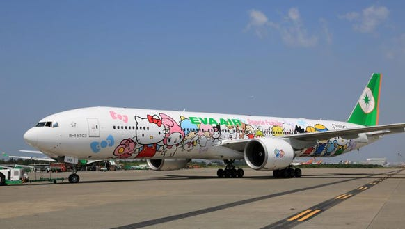 An Eva Air Boeing 777 in Los Angeles is seen painted