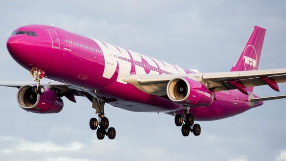 A WOW Air Airbus A330 lands at San Francisco International