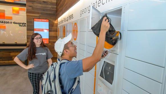 A student using the new Amazon locker on the Georgia