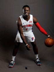FILE - In this Sept. 25, 2017, file photo, Detroit Pistons guard Reggie Jackson poses during the NBA basketball team's media day, in Auburn Hills, Mich. After falling back out of the playoffs last season, the Pistons are hoping for an improved Andre Drummond and a healthier Reggie Jackson in 2017-18. (AP Photo/Carlos Osorio, File)