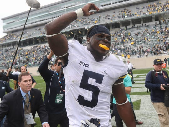 Michigan linebacker Jabrill Peppers celebrates the 32-23 win over Michigan State on Oct. 29, 2016 at Spartan Stadium in East Lansing.
