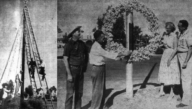 12/4: They say Chandler's Tumbleweed Tree was the brainchild of Earle Barnum. Allegedly, a fire in late 1956 or early 1957 destroyed all of Chandler's Christmas decorations. Barnum came up with the idea for the tumbleweed tree after seeing a tree built with local pine boughs in his hometown in Indiana. This photo shows the Tumbleweed Tree going up in 1957. Right: Officials (from left) Dick Karkaula, Earle Barnum, Mrs. William Partridge and Bill Wilson inspect the cotton-boll light-pole decorations.