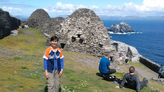 """Susan Reynolds took a picture of her mother, Mary Reynolds, both from Oxford, when they visited Skellig Michael off the western coast of Ireland in May. Skellig Michael was a filming location for """"Star Wars: The Force Awakens."""" The dwellings are part of a 6th Century monastic settlement."""