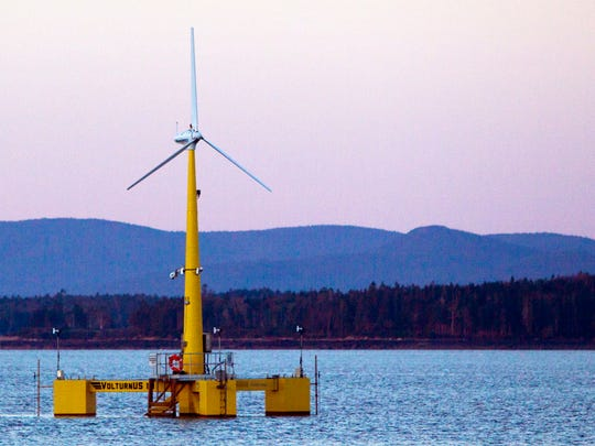 This Friday, Sept. 20, 2013 file photo shows the country's first floating wind turbine works off the coast of Castine, Maine.
