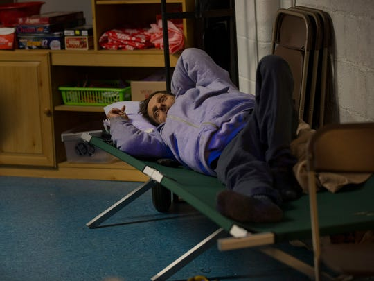Salvatore Megna, 65, settles in for a good nightÕs sleep at the Ocean County warming center in Toms River, based in the First Assembly Church of God on Bay Ave, during this deep freeze.