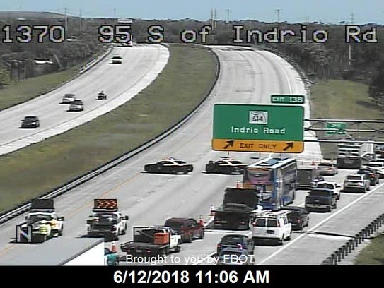 Traffic on Interstate 95 was diverted at Indrio Road