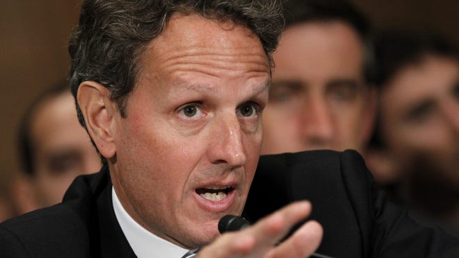Treasury Secretary Timothy Geithner testifies July 26, 2012, on Capitol Hill before the Senate Banking Committee.
