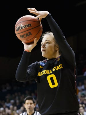 Arizona State guard Katie Hempen (0) shoots a 3-point shot against Vanderbilt during the second half in a first-round game in the NCAA women's college basketball tournament, Saturday, March 22, 2014, in Toledo, Ohio. Arizona State defeated Vanderbilt 69-61.