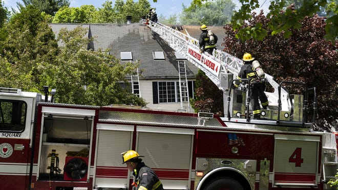Worcester firefighters put out a fire on Fourth Street on Tuesday.