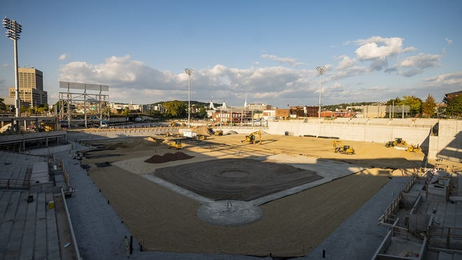 Ongoing construction, including the infield, is seen during a tour of Polar Park on Wednesday. View a photo gallery on telegram.com.