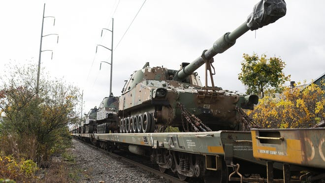 Around 100 artillery vehicles rumbled through Worcester atop flatbed train cars near West Boylston Street on Saturday. View a photo gallery at telegram.com.