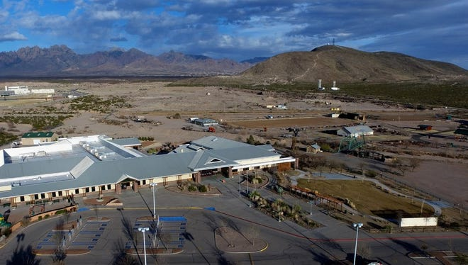 A drone captures the 47-acre New Mexico Farm and Ranch Heritage Museum in Las Cruces.