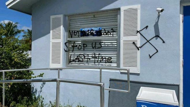 The Leftof Center in Lake Worth  Beach was targeted last week by an alleged vandal.